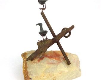 Vintage Curtis Jere Birds on Anchor Sculpture