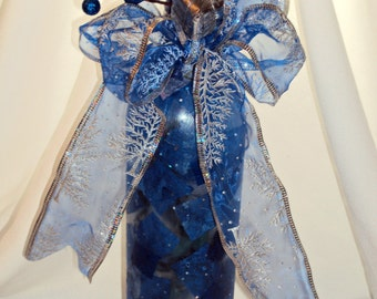 Altered, Recycled, Repurposed, Upcycled Wine Bottle with Lights - I'll Have a Blue Christmas