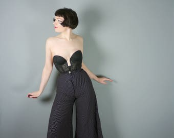 """70s WIDE LEG high waisted trousers by Mister Ant - 1970s black polka dot flares / flared PALAZZO pants - 23"""" waist - / xxs"""