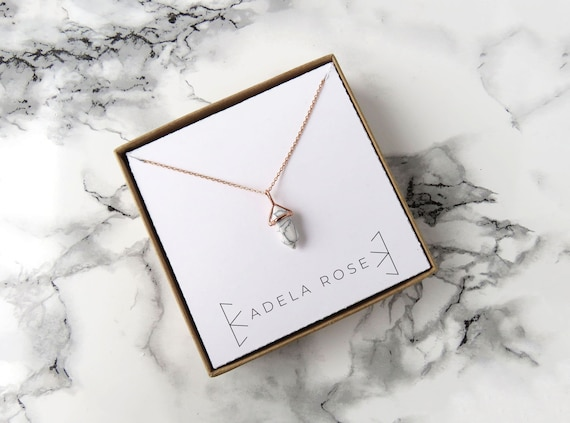 Dainty Pointed Marble Pendant Necklace, Dainty Marble Necklace, Pendant Necklace, Dainty Necklace, Dainty Jewelry, Statement Jewelry, Boho