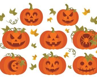 SALE Carved Pumpkins Clip Art | Orange Garden Patch Vines Leaves Spooky Design | Digital Illustration Stock Icons | Personal Commercial Use