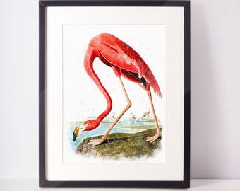 Wall Decor, pink flamingo digital print flamingo art print flamingo poster flamingo watercolor instant download flamingo prints