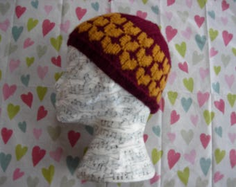 Knitted heart design hat