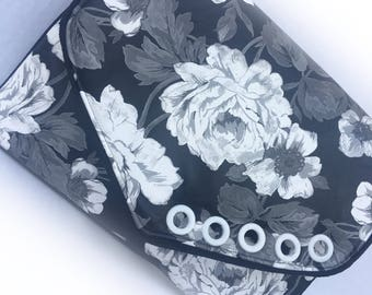 Black & White Floral Vegan Faux Leather Romantic Clutch with White Grommet Accents and Removable Strap- Rocketscientry Bag/iPad Case
