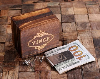 """Initial """" V """" Personalized Men's Classic Cuff Link & Money Clip with Wood Box Monogrammed Engraved Groomsmen, Best Man, Father's Day Gift"""