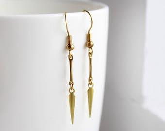 Brass Earrings Dainty Earrings spike earrings dainty jewelry edgy jewelry boho earrings brass jewelry raw brass earrings bohemian jewelry