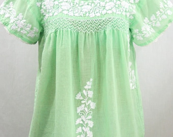 """Embroidered Peasant Blouse: """"La Marina Corta"""" in Pale Green with White Embroidery ~ Size MEDIUM"""