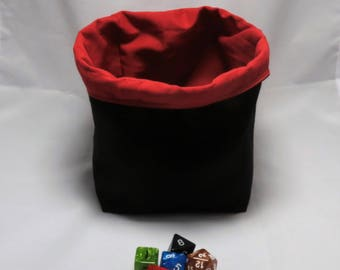 Freestanding Dice Bag - Tile Pouch - Meeple Storage - Black and Red - Square Base - Reversible - Cord Drawstring - Handmade - RPG - D&D Die