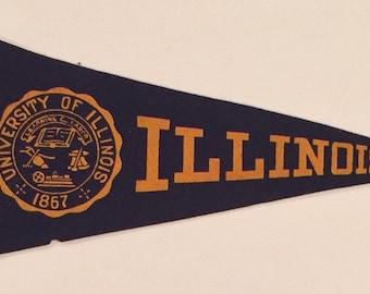 Circa 1940's University of Illinois Mini Pennant by the Chicago Pennant Company - Antique College Memorabilia