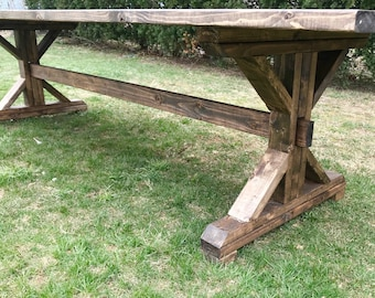 Rustic Farm Table, Farmhouse Table, Large Farm Table, Custom Farm Table,  Solid
