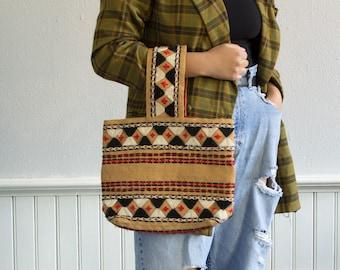 60s Geometric Straw Handbag