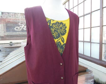 Vtg 90's Wool Burgundy Long Vest Jumper Dress Coverall L XL 1990's Jumpsuit 1970s style 16 Flannel Sag Harbor