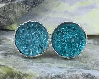 Aqua Druzy Earrings - Bridesmaid Gift - March Birthstone - Stud Earrings - Drusy - Jewelry - Flower Girl Earrings - Aqua - Druzy - Earrings