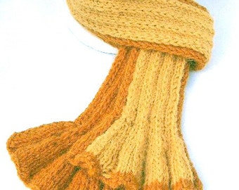 Double Knitted Reversible Ribbed Scarf in Shades of Pumpkin