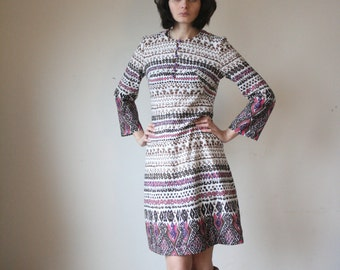 Retro 70's dress Lines dress Graphic pattern dress Cream and brown Midi modern dress 70 s (S/M)