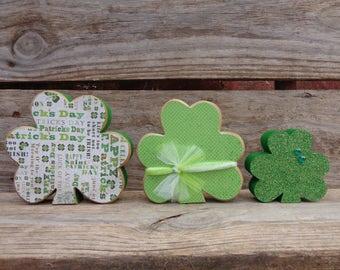 St. Patricks Decor-  Spring Decor- Shamrock Decor- Shamrocks Set of 3