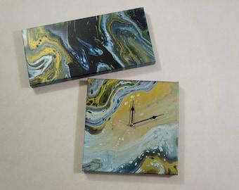 Original Acrylic Pour Painting, Acrylic Painting, Pour Painting, Canvas Clock Painting, Blue, White, Gold