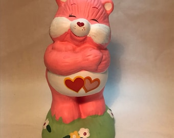Vintage Care Bears Love-A-Lot Ceramic Bear Figure~American Greetings Designer Collection~1983~FREE SHIPPING~L@@k