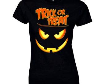Halloween T Shirt Trick or Treat Scary Pumpkin Face Gift Idea Costume Women's Tee
