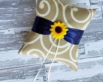 Burlap swirl sunflower themed ring bearer pillow / vintage / rustic / country / barn / farm / ranch / farm house / sunflowers / romantic