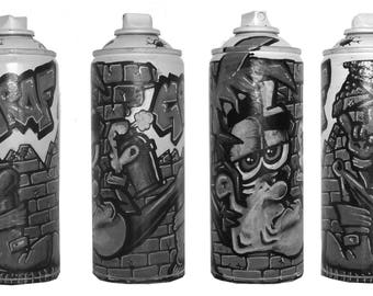 drawing on spray can.