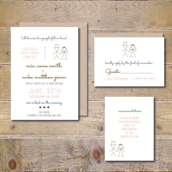 Wedding Invitations . Wedding Invites . Stick Figure Wedding