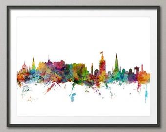 Edinburgh Skyline, Edinburgh Scotland Cityscape Art Print (976)