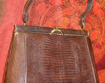 Brown Faux Snake Skin Vinyl 1960 Top Handled Handbag