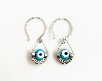 Evil Eye Earrings, Nazar Drop Earrings, Hammered Silver Earrings, Good Luck Gift for Her, Evil Eye Jewelry