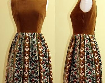 1960s Fabulous Brown/Floral Balloon Dress, Small