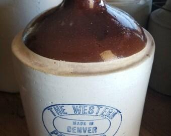 Antique Western Pottery Co. Made in Denver, Whiskey Jug, Salt Glazed Gallon Jug