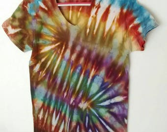 Ice Dyed Tee Shirt men's size Small in Brown Blue Green