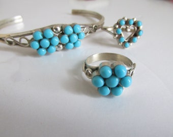 Flower Power Turquoise Ring sz 5 Sterling Silver Ring Turquoise Ring, Turquoise Ring Sterling Silver Southwestern Inspired Turquoise jewelry