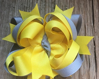 Handmade Boutique Style Hair Bow - Gray & Yellow