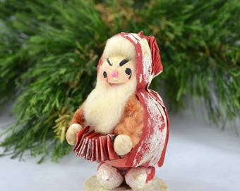Vintage Paper Mache Santa Playing An Accordion, Mid Century Paper Mache' Santa Made In Japan