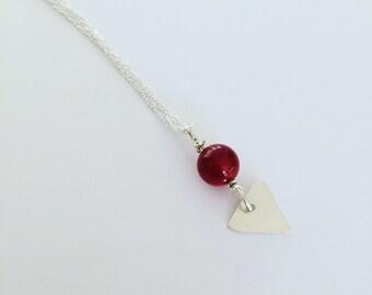 Carnelian Hammered Silver Arrowhead Necklace - Chakras - Healing - Sensuality - Bohemian - Bead - Red -
