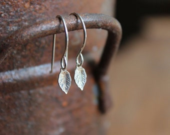 Hudson Valley Tiny Sterling Silver Leaf Dangle Celebrity Earrings on Sterling SIlver Ear Wires