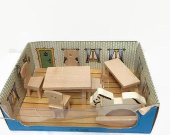 Tofa ABC Dollhouse Furniture - Dining Room Set - Czechoslovakia, Table, Four Chairs, Bench, Rocking Horse - Wood - Original Box