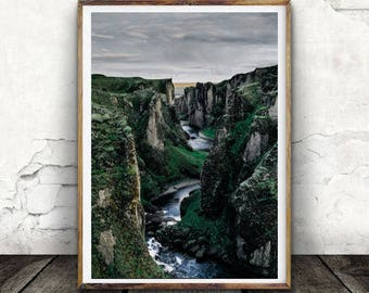 Mountain Wall Print, River, Landscape, Water, Digital download