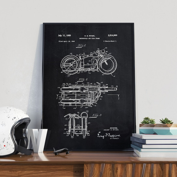 Retro Motorcycle Patent Print Motorcycle Poster Home Decor