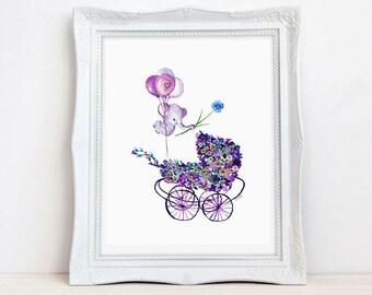 Baby Carriage Printable  Nursery  Wall Art Baby Boy Nursey  Elephant  Ballons Nursery Printable Watercolor  Nursery Wall Art Downloadable,