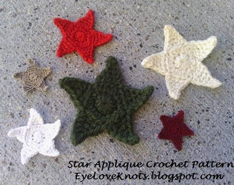 CROCHET PATTERN - Star Applique in 6 Sizes - Easy Crochet Pattern, Crochet Star Applique, Crochet in Multiple Sizes, Permission to Sell Item