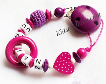Dummy pacifier chain holder with name of your choice