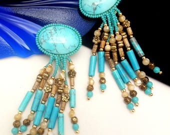 Vintage Turquoise Beaded Dangle Clip-On Earrings - Beautiful & Finely Made!