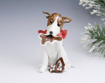 Greyhound Brindle White Christmas Ornament Figurine Cookies Porcelain