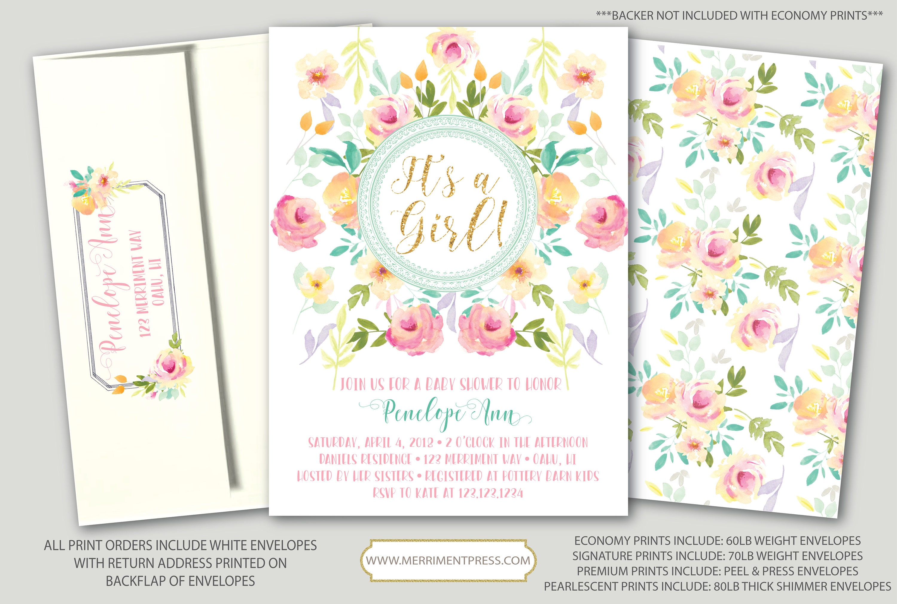It\'s a Girl Baby Shower Invitation Peach Pink Yellow Mint Gold ...