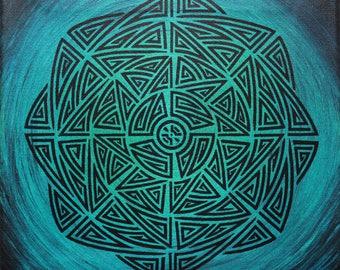 Modern painting: tribal emerald blue.