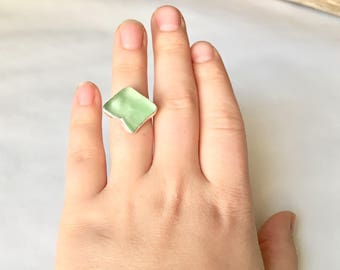 Square NYC Sea Glass Green Ring, Boho, Brooklyn Made