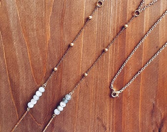 Beaded Labradorite Lariat Necklace