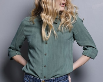 Slate green blouse for women, woman blouse, green collar blouse, button down tailored blouse, green blouse with tie ribbon for women